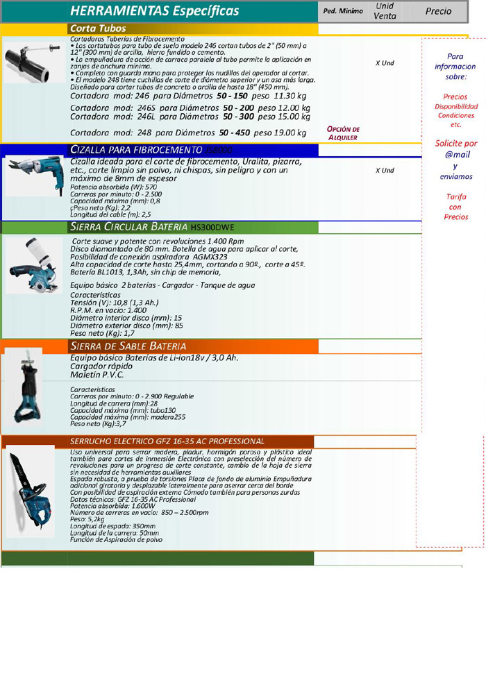 Herramientas adecuadas para manipulación de amianto, cortar, taladrar...